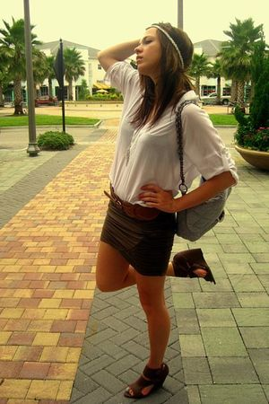 brown XXI skirt - brown shoes - brown belt - gray purse - white blouse - white a