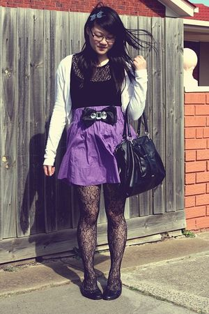 purple H&M skirt - black thrifted Novo shoes - black floral Kmart tights