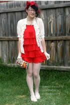 dress - Dotti blouse - secondhand from Savers shoes - stockings - DIY accessorie