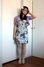 Blue-bardot-dress-purple-thrifted-top-white-thrifted-tights-white-thrifted