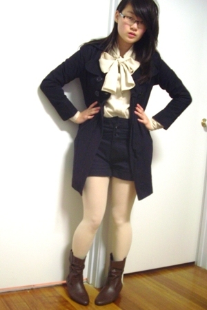 coat - thrifted blouse - Living Doll shorts - Target Australia boots