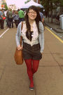 White-dotti-blouse-gray-esprit-cardigan-gray-silence-noise-shorts-red-spo