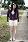 Purple-friends-of-couture-cardigan-white-valleygirl-shorts-white-thrifted-ti