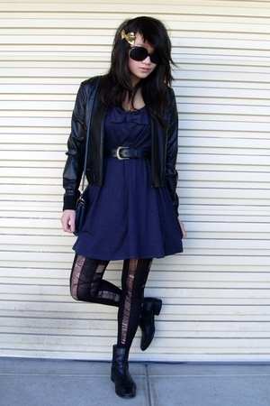 blue thrifted Revival dress - black thrifted Country Road boots