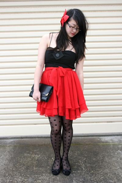 red second hand from Savers skirt - black Princess Highway dress - black Ebay ti