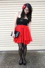 Red-second-hand-from-savers-skirt-black-princess-highway-dress-black-ebay-ti