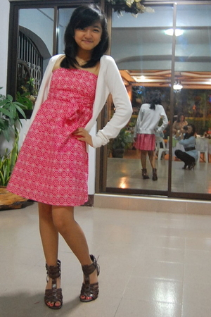 white H&M cardigan - red dress - brown Charles and Keith shoes