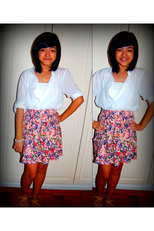 white Zara shirt - pink Zara skirt - gold Aldo shoes - white Tillys intimate
