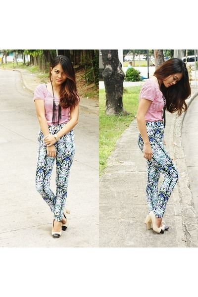 blue printed pants pants