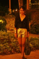 gold quilted asos shorts