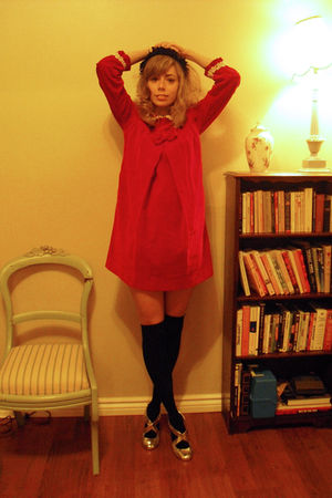 black vintage thrifted hat - red thrifted vintage dress - black socks - silver s