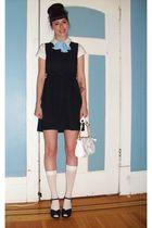 white vintage blouse - blue thrifted dress - blue thrifted scarf - white socks -