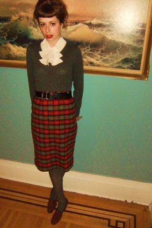 sweater - belt - skirt - H&M tights - vintage shoes