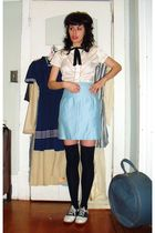 white vintage shirt - black vintage accessories - blue vintage skirt - blue le c