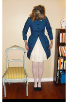 navy Alfred Sung coat - off white thrifted vintage dress - navy vintage shoes -