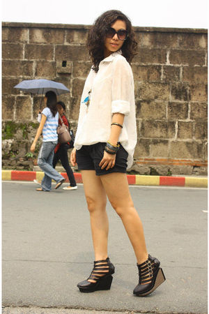 white vintage blouse - black thrifted shorts - black Soule Phenomenon shoes - br