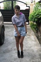 button fly vintage shorts - ANDRE CHANG boots - vintage top - from mom belt
