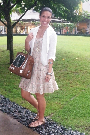 vintage blazer - Topshop dress - Topshop shoes - Bazaar purse - dept store neckl