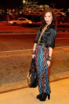 black BCBG top - vintage skirt - black Soule Phenomenon shoes - black Glitterati