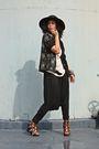 Black-anagon-hat-vintage-blazer-beige-paradigm-shift-top-black-paradigm-sh