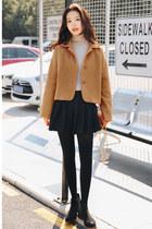 bronze single breasted Fashionmia coat - plain Fashionmia coat