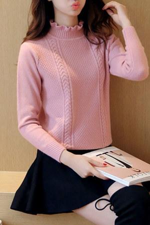light pink band collar Fashionmia sweater