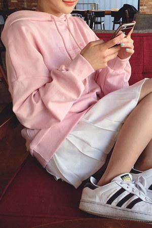 pink autumn spring Fashionmia hoodie - pink cotton blend Fashionmia hoodie