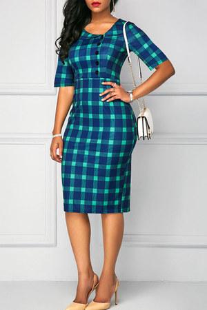 blue doll collar Fashionmia dress - blue plaid Fashionmia dress