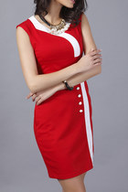 red square Fashionmia dress - red neck Fashionmia dress