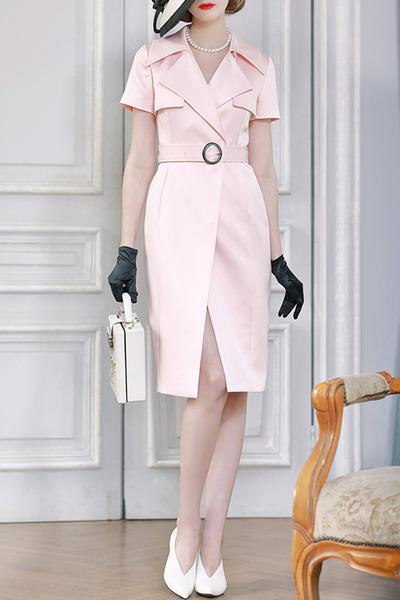 light pink fold-over Fashionmia dress - light pink collar Fashionmia dress