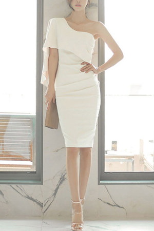 white open shoulder Fashionmia dress - white plain Fashionmia dress