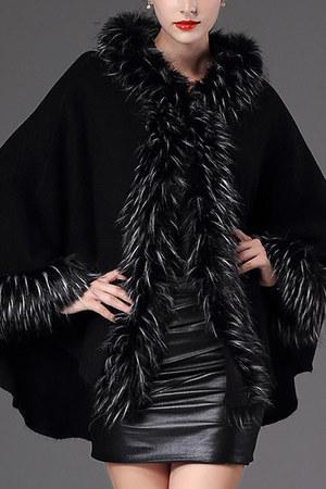 black hooded plain Fashionmia coat - black faux fur Fashionmia coat