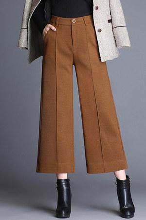 crimson solid pocket Fashionmia pants - woolen Fashionmia pants