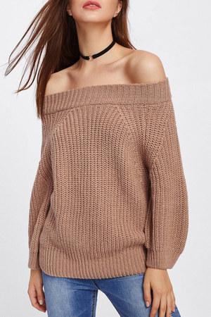burnt orange boat neck Fashionmia sweater