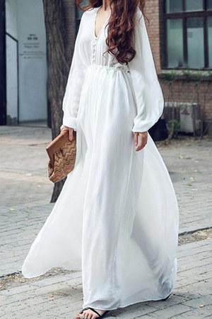 white v-neck elastic Fashionmia dress - white Fashionmia dress