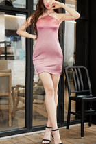 halter plain Fashionmia dress - bodycon Fashionmia dress - pink Fashionmia dress