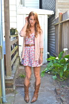 brown Steve Madden boots - brown vintage belt - light pink Urban Outfitters card