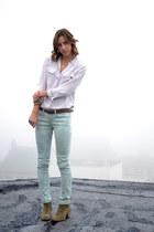 aquamarine floral print BDG jeans - beige snakeskin Equipment blouse