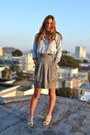 Light-blue-chambray-madewell-shirt-heather-gray-bcbg-skirt