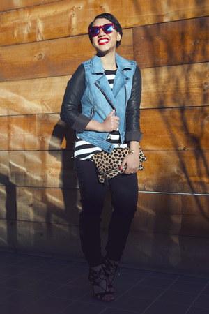 blue LAmour by Nanette Lepore jacket - black LAmour by Nanette Lepore pants