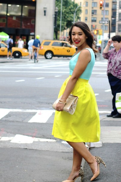 yellow midi Top Shop skirt