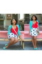 white polka dot ktr shirt - red worn as a shirt single dress