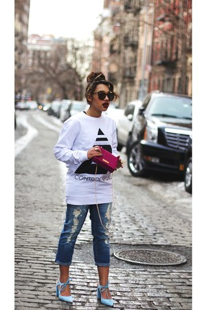 graphic Control Sector sweatshirt - coated ripped Gap jeans