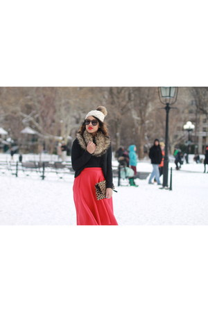 red midi asos skirt - faux fur Mark and Graham scarf