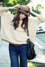 Beige-asos-sweater-blue-hudson-jeans-camel-vintage-hat-black-melie-bianco-
