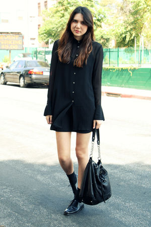 black DKNY dress - black Via Spiga shoes - black Jigsaw purse