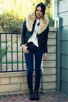 black Zara jacket - white storets sweater - black modcloth shoes - camel vintage