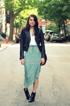 black vintage boots - black True Religion jacket - sky blue threadsence skirt