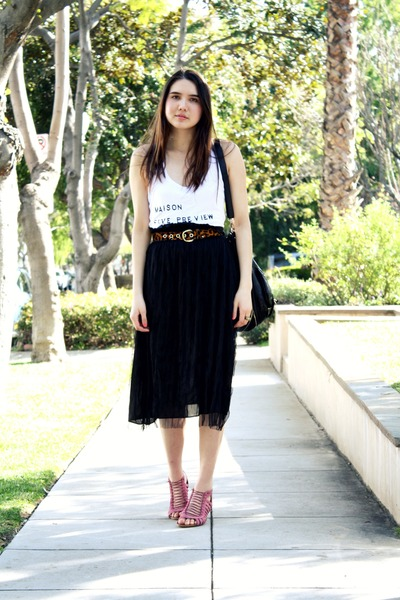 white 5Preview top - black storets skirt - bubble gum Zara sandals - brown vinta