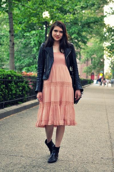 black vintage boots - pink blue bird dress - black True Religion jacket - black